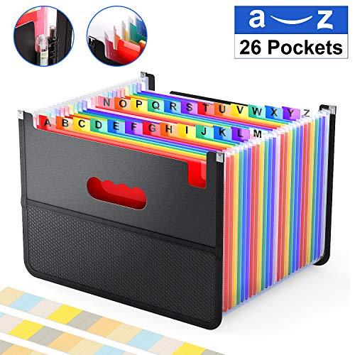 26 Pockets Expanding File Folder ActFaith Accordian Organiser Document/A4/Letter Size Filing Boxes/Large Capacity Storage Case/Net Bag Rainbow A-Z Alphabet Colored Tabs/Portable Paper/Bill/Receipt