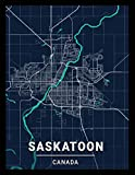 Saskatoon Canada: city map; dot grid notebook with map on the cover, gift for travel lovers, souvenir