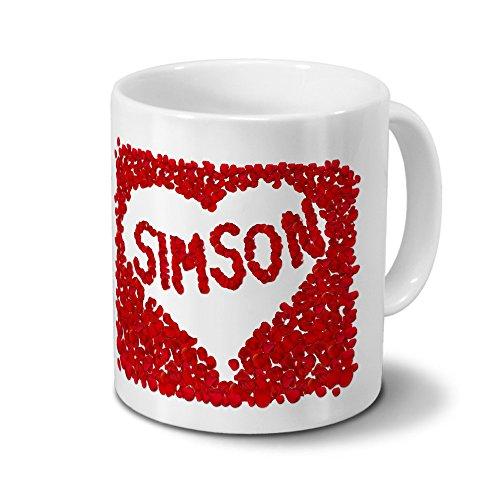 Tasse mit Namen Simson - Motiv Rosenherz - Namenstasse, Kaffeebecher, Mug, Becher, Kaffeetasse - Farbe Weiß