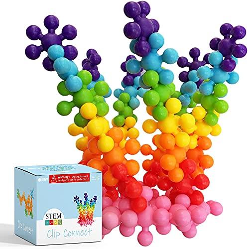 "Clip Connect 100 Pieces | Diameter 1.5"", Interlocking Solid Plastic Building Blocks Set Early STEM Educational Toy for Preschool Kids Boys and Girls, Promotes Fine Motor Skills & Sensory Development"