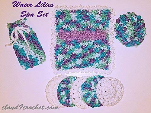 Invigorating yet gentle face and body poufs. Hand crocheted Water Lilies colored spa or bath set.