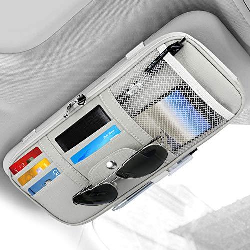 Car Sun Visor Organizer, Auto Interior Accessories Storage Pocket Truck Organizer Pouch Holder Tissue Case Bag for Card License Registration, Sunglass Holder for Car with Multi-Pocket Net Zipper, Gray