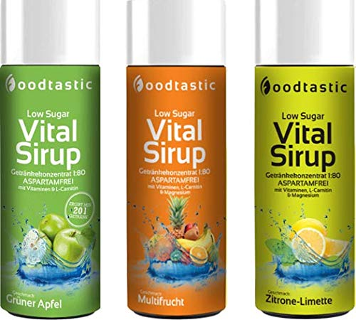 Foodtastic Low Sugar Vital Siroop 250 ml, suikerarm drankconcentraat 1:80 voor mengen in water