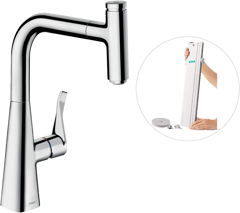 Hansgrohe Metris Select Einhebel-Küchenmischer (Komfort-Hhe 240 mm, mit Ausziehauslauf und Schlauchbox) chrom