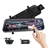 2.5K Mirror Dash Cam Smart Voice Control 10' Rear View Mirror Camera with Waterproof Backup Camera Sony Sensor 170 Super Night Vision Loop Recording G-Sensor Parking Assistance Full Touch Screen