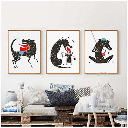Impressões de arte decoração para quarto de crianças, desenho de parede, conto de fadas lobo e Chapeuzinho Vermelho, pintura em tela nórdica, 45 x 60 cm, sem moldura