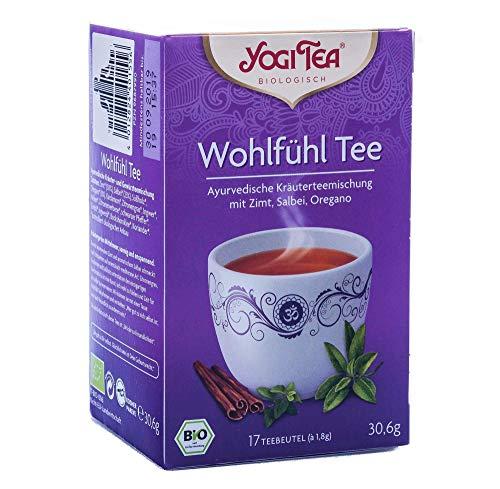 Yogi Tee, Wohlfühl-Tee Ayurvedische Teemischung, Biotee, Diese unvergleichliche Kräuterkomposition lernt von der Entspanntheit der mediterranen Länder, 17 Teebeutel, 30,6g