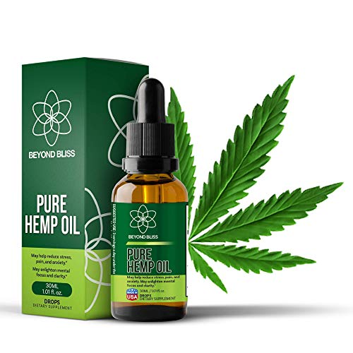 Beyond Bliss Hemp Oil Drops - 1050 Milligrams Daily - Promotes Pain Relief - USA Made - Anxiety / Stress Relief Supplement - Natural Extract - Organic - Joint Support