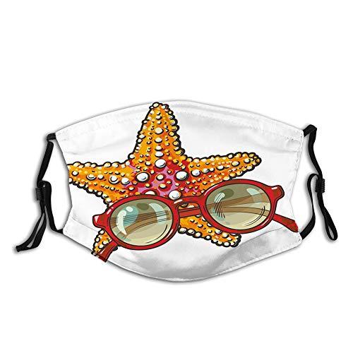 LESKETH Escudo facial para hombres y mujeres, niños y niñas deportes, estrellas de mar y gafas de sol redondas tropicales de verano vacaciones bosquejo, funda de viaje