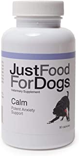 JustFoodForDogs Calm Supplements for Dogs - Stress Relief for Separation Anxiety, Thunder, Travel & Noise (90 Count)
