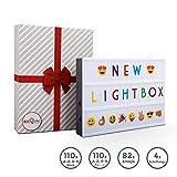 B.K.Licht I LED A4 Lightbox I USB und Batterie I 220 Buchstaben in schwarz und bunt I 82 Emojis &...