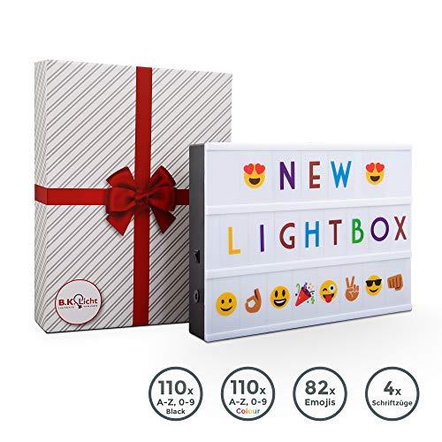 B.K.Licht I LED A4 Lichtbox I USB en batterij I 6.500 Kelvin daglicht wit I 220 decoratieve letters in zwart en gekleurd I 82 Emojis & symbolen I 4 letters bijv. Happy Birthday I Lichtbox I Brievenbus