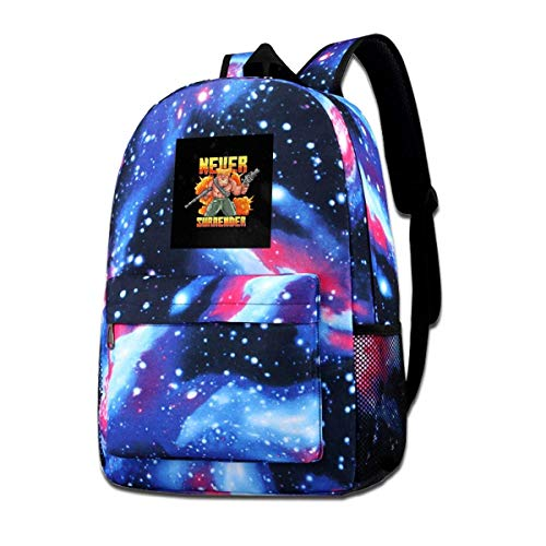Galaxy Backpack Printed Shoulders Bag Never Surrender Soldier Pixel Art Fashion Casual Star Sky Backpack for Boys&Girls