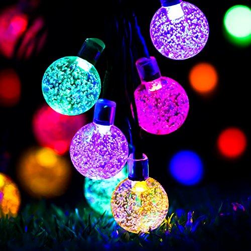 Glisteny Guirlande Lumineuse Solaire, 30 LED Lampe Solaire LED éclairage Étanche Extérieure Chaine de Lampes 8 Modes de Travail pour Jardin, terrasse, Fête de Noël, Mariage