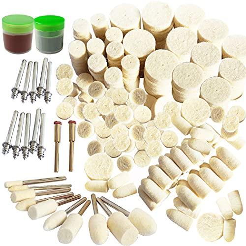 Felt Wool Polishing Buffing Pad Set Wheel Grinding Head Point & Mandrel Kit Accessories Tools Compatible for Dremel