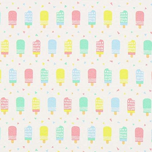 Dekostoff Canvas Pastell Eis am Stiel — Meterware ab 0,5m — zum Nähen von Kinder Deko, Babydekoration & Kissen/Tagesdecken
