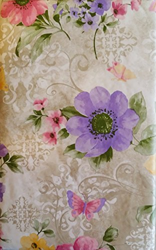 Elrene Home Fashions Butterflies Among Pink, Yellow and Purple Violets Vinyl Flannel Back Tablecloth (52