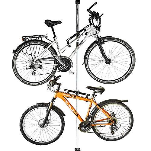 ALLEGRA Fahrradhalterung Wand Fahrradaufhängung Fahrradwandhalterung Fahrrad Halterung (Weiß, 2 Halter + Stange 160cm - 290cm)