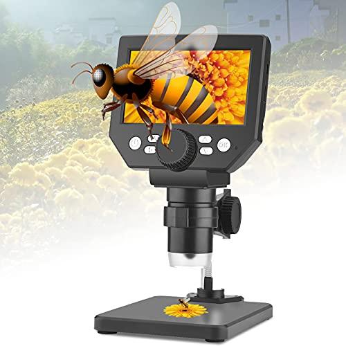 Kacsoo Microscope Numérique, 4,3 Pouces 10 Millions De Pixels Microscope Electronique Avec Un Grossissement De 1000x, Batterie 2600 Mah Intégrée LCD 1080P Microscope Professionnel Cadeau De l'Enfant