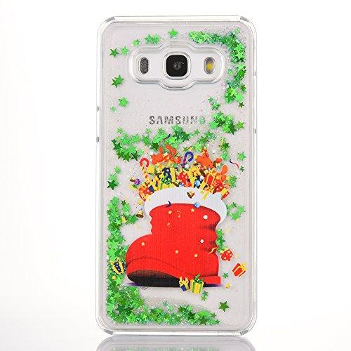 SpiritSun Funda para Samsung Galaxy J5 2016, Silicona Case Carcasa con Líquido y Transparente Cover Bumper TPU Tapa Trasero para Samsung Galaxy J5 2016 Anti Rasguños Protector Caso - Papá Noel 2