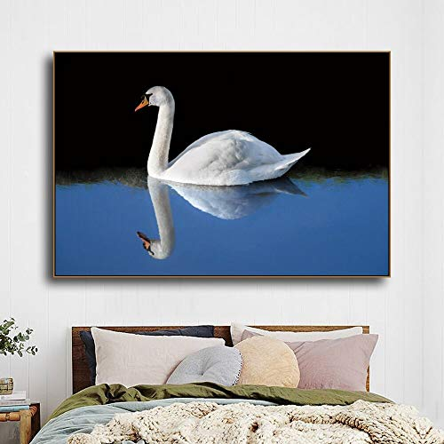 LPaWD Canvas Schilderij Dier Posters en Prints Moderne Woondecoratie Swan Wall Art Foto voor Art Muur Foto Woonkamer Thuis A3 60x90cm