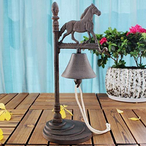 Dörrklocka Främre klocka Europeisk stil Galoppande klocka Vintage Gjutjärn Skrivbord Hand-vevad Bar Hand Ringklocka Ornament Bell Iron Bell Doorstop