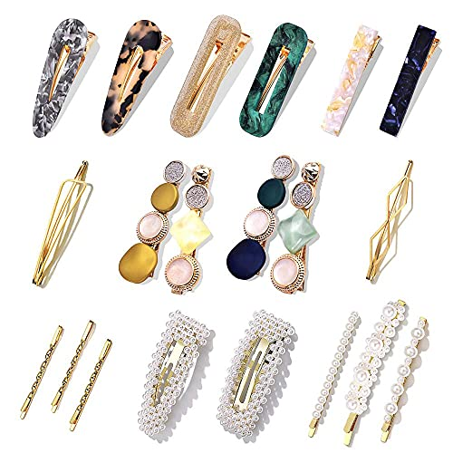 20 Pcs Pearl Hair Clips - Cehomi Fashion Korean Style Pearls Hair Barrettes Sweet Artificial Macaron Acrylic Resin Barrettes Hairpins for Women,Ladies and Girls Headwear Styling Tools Hair Accessories