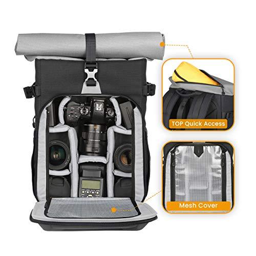 TARIONXHカメラバッグ一眼レフリュック大容量ロールトップ容量拡張可安全性アップおしゃれパソコン収納スペース付きカメラリュックサック一眼レフカメラドローンに適用シルバー