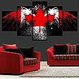 YuanMinglu 5 Piezas Decoración del hogar Águila Bandera Canadiense Arte Abstracto de la Lona Pintura sin Marco 30x50cmx2 30x70cmx2 30x80cmx1