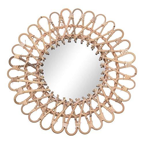 RecoverLOVE Espejos de Pared Espejo Decorativo Decorativo de Pared Colgante con ratán Natural Espejo Redondo Art Decó Salón Espejo con Forma de Sol montado en la Pared para decoración de Interiores