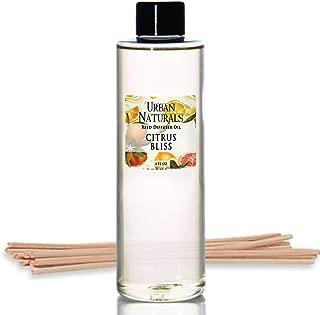 Urban Naturals Citrus Bliss Mandarin & Grapefruit Scented Reed Diffuser Oil Refill + Replacement Reed Sticks | Fresh, Bright Citrus Scent 4 oz.