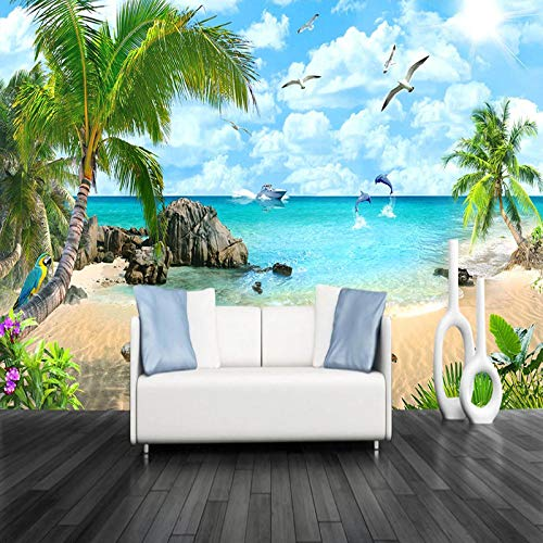 VGFGI Foto Wandbild 3D Strand Landschaft TV Hintergrund Wandgestaltung Wohnzimmer Wanddekoration Malerei Tapete Schlafzimmer Wand-480cm(W) x290cm(H)