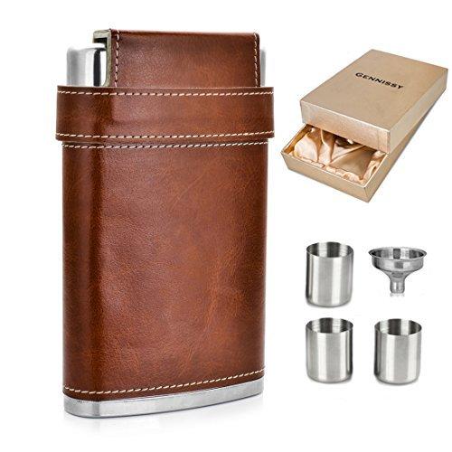 Gennissy Taschenflasche aus Edelstahl 304 18/8, 0,23 l – braunes Leder mit 3 Bechern und Trichter, 100% auslaufsicher, Edelstahl, With Yellow Gift Box Funnel, 227 g