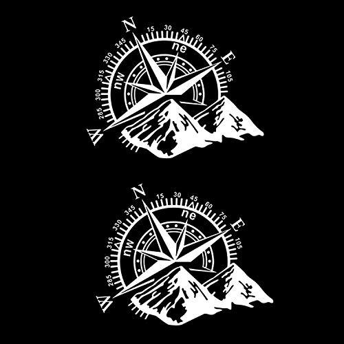 REGALOS ESTRELLA AZUL 2 Pegatinas Coche Rosa de los Vientos Adhesivos Moto Vinilo Moto sin Fondo. Pegatinas para Furgonetas Camper. Pegatinas para Moto y Trail. Pegatina Coche (Blanco)