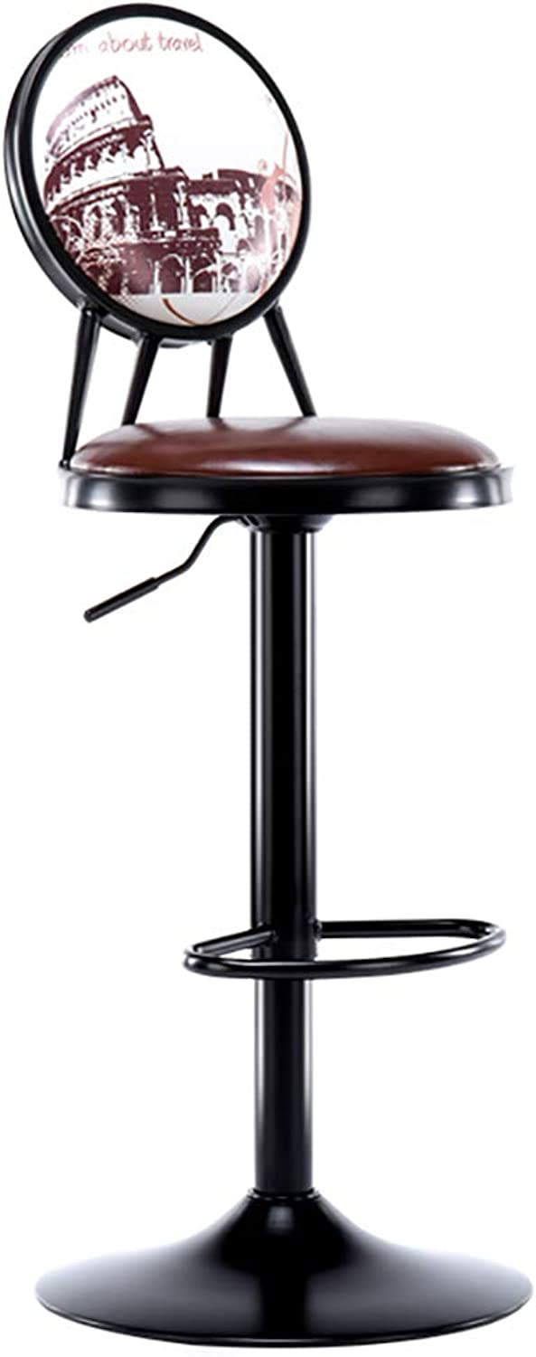 Bar Stool with Backrest, Leatherette Exterior, Adjustable Swivel Gas Lift, Footrest and Base for Breakfast Bar, Counter, Kitchen and Home Barstools-Darkbrown