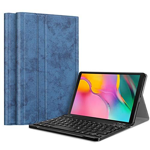 Fintie Tastatur Hülle für Samsung Galaxy Tab A 10.1 2019 SM-T510/T515 Tablet - Ultradünn leicht Schutzhülle mit magnetisch Abnehmbarer drahtloser Deutscher Bluetooth Tastatur, Jeansoptik blau