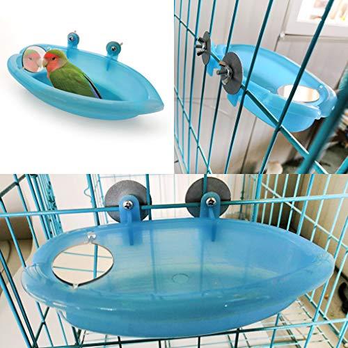 Vogel-Badewanne für Papageien, Vogelkäfig-Zubehör, Vogelspiegel-Badewanne, Duschbox
