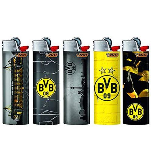 Bulentini BIC Maxi Feuerzeug J26 Limited/Special Edition + 1x Zigarettenschachtel Überzieher - Standard Soft Flame Feuerzeuge mit Zündstein/Reibrad (BVB Borussia Dortmund - 5 Feuerzeuge)
