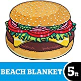 BigMouth Inc Giant Burger Beach Blanket, Over sized Beach Towel, Ultra-Soft Microfiber Towel, 5 Feet Wide, Washing Machine Friendly