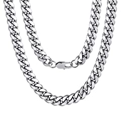 ✦Cuban Chain✦: 10mm width, 20 inches length, 4.5mm thickness ✦Men Necklace✦: Nice and Chunky with A GREAT Shine, could holding up to your daily life. thick and sturdy appearance - beautiful look- the chain is what it is ✦Material✦ : 316L stainless st...