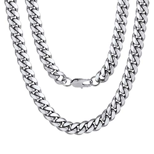 Men s Stainless Steel Cuban Link Chain Necklace 10MM 18inch Hip Hop Jewelry
