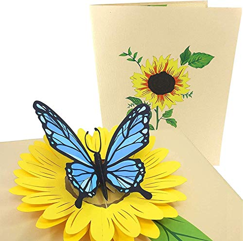PopLife Blue Butterfly and Sunflower Pop Up Valentine's Day Card - 3D Anniversary, Pop Up Mother's Day Card, Thank You, Happy Birthday - Folds Flat for Mailing - for Mom, for Daughter, for Wife