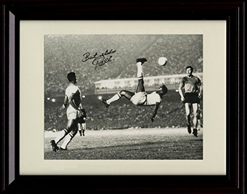 Framed Pele Autograph Replica Print - Pele Flips Over Soccer! - Bicycle Kick