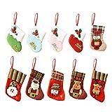 Counius 10 Piezas Medias de Navidad Bolsa Regalo Dulces Navideños Calcetín niños Regalos Decoración del Hogar Fiesta del árbol Navidad Adornos