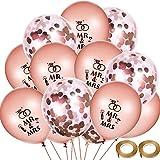 Chinco 40 Stück Hochzeit Ballons Rose Gold Herr Frau Ballons Konfetti Ballon mit 2 Rollen Ballon Bänder für Hochzeitstag Engagement Party Decor
