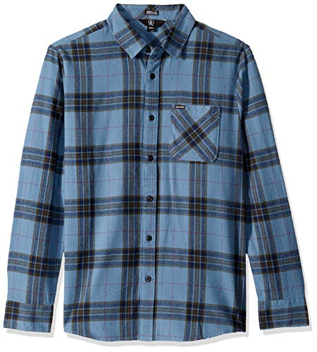 Volcom Caden Plaid Kids Camisa de Manga Larga, Niños, Azul (Blue Rinse), XS