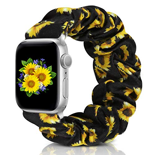 Compatible with Apple Watch Band 38mm 42mm 40mm 44mm iWatch Series 6 SE 5 4 3 2 1 Scrunchie Elastic Watch Band for Apple Watch(Sunflower-38mm/40mm/M)