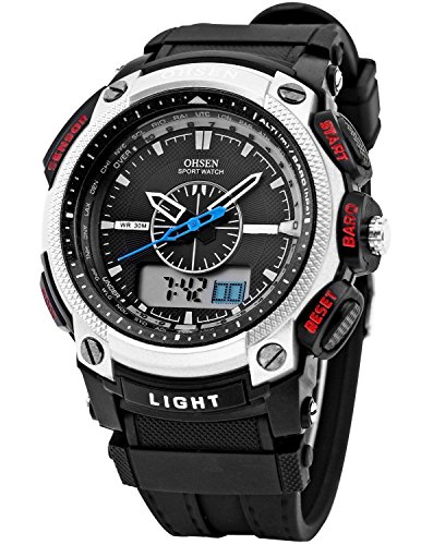 OHSEN Sportuhren LCD Dual Core Herren Sport Datum Tag Silber Ton Stoppuhr Schwarz Gummi Armbanduhr