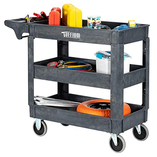 TUFFIOM Plastic Service Utility Cart, Support up to 550lbs Capacity, Heavy Duty Tub Storage Cart W/Deep Shelves, Multipurpose Rolling 3-Tier Mobile Storage Organizer, for Warehouse Garage