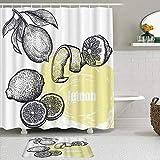 AMIGGOO Juegos de Cortinas de baño con alfombras Antideslizantes, Limón Cítricos Dibujo a Mano Boceto Salud Salud Productos Naturales,con 12 Ganchos